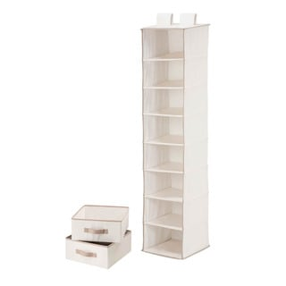 8 shelf organizer and 2 drawers- natural t/c polycotton
