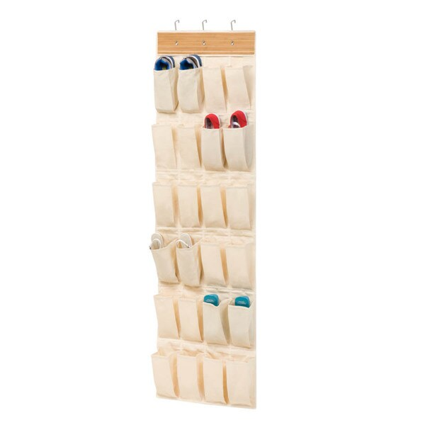 24-pocket Bamboo/Natural Over The Door Organizer