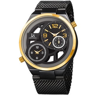 Joshua & Sons Men's Multifunction Stainless Steel Mesh Quartz Bracelet Watch