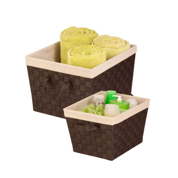 2-piece Espresso Woven Basket Set