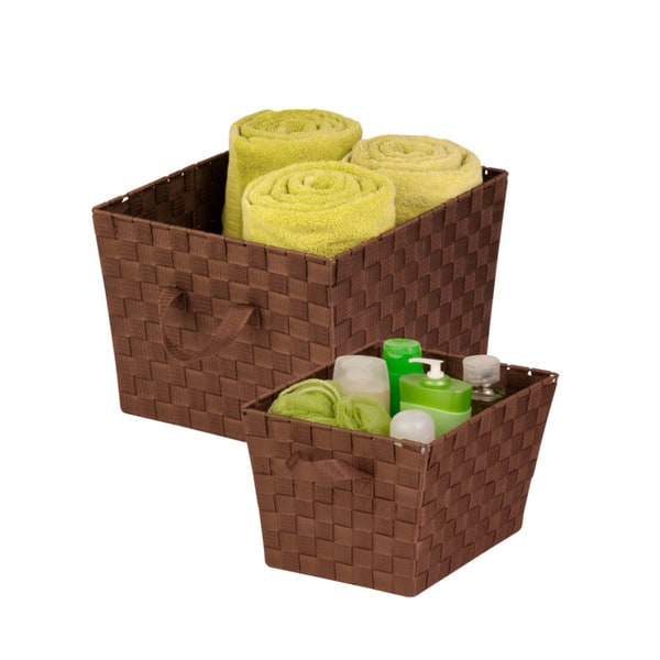 2-pc woven basket set, chocolate