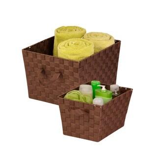 2-pc woven basket set, chocolate