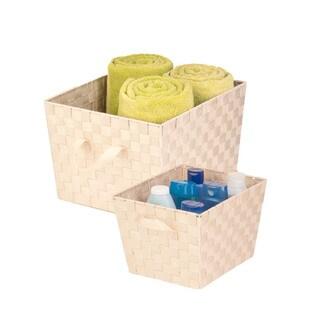 2-pc woven basket set, crème