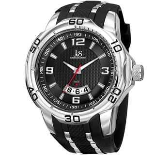 Joshua & Sons Men's Swiss Quartz Diamond Date Silver-Tone Strap Watch