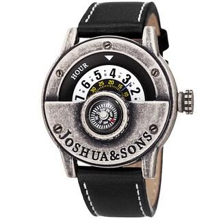 Joshua & Sons Men's Quartz Rotating Wheel Leather Strap Watch