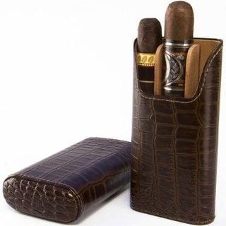 Brizard Cigar Case All Leather Croco Tobacco