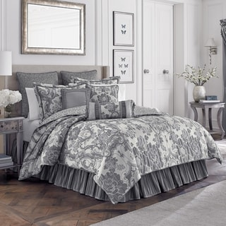 Croscill Everly Ivory and Platinum 4-piece Comforter Set