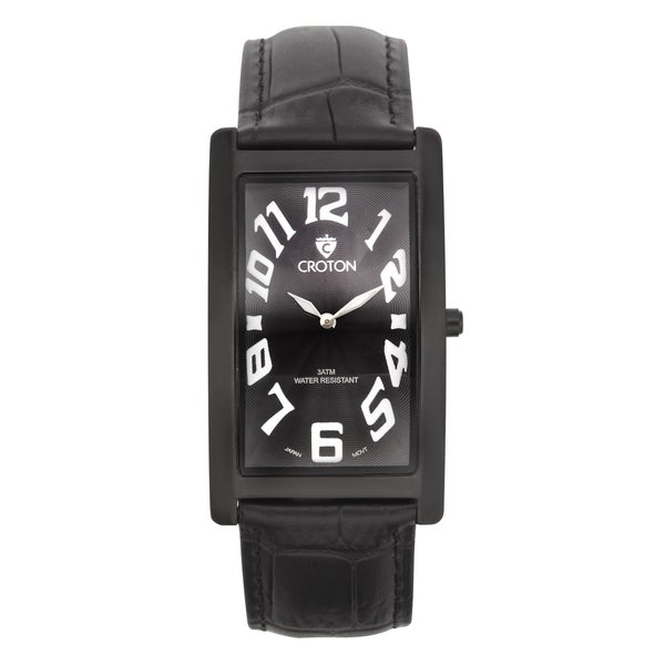 Men's Curved Rectangular IP Black Stainless Watch with Black Dial & Black Strap