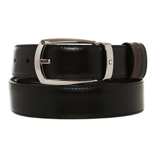 Mont Blanc Reversible Black Leather Belt