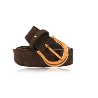 Montblanc Men's Vintage Gold Pin Buckle Dark Brown Suede Belt