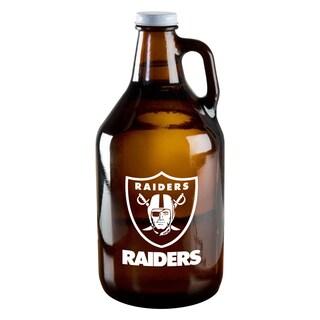 Oakland Raiders 64-Ounce Amber Glass Growler