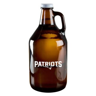 New England Patriots 64-Ounce Amber Glass Growler