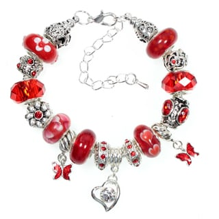 Red Butterfly Crystal Heart Red Glass Bead European Charm Bracelet