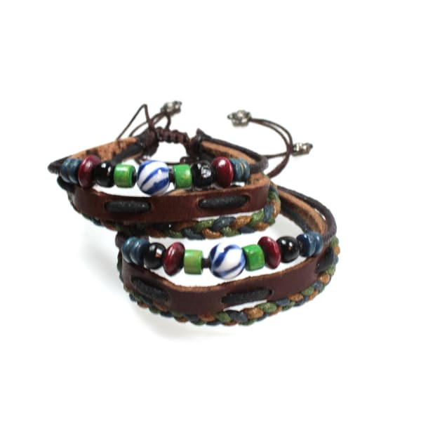 Two Leather Friendship Bracelets