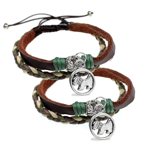 Two Puppy Dog Charm Leather Friendship Bracelets