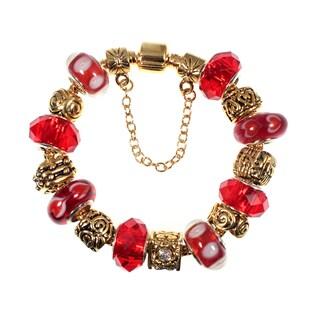Red Lampwork Glass Bead European Style Goldtone Charm Bracelet