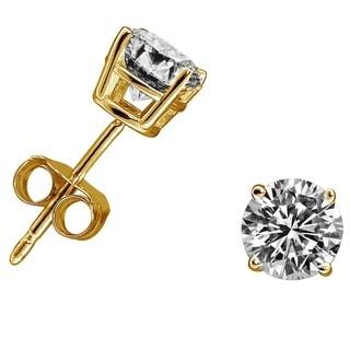 10k Yellow Gold 1ct TDW Diamond Round Stud Earrings (H-I, I2-I3)