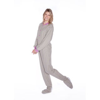 Seafoam Green & Lavender Plaid Cotton Flannel Adult Footed Pajamas by Big Feet PJs