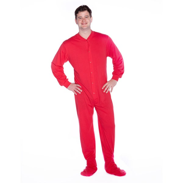 Big Feet Pajama Co. Unisex Red Cotton Jersey Knit Footed Pajamas