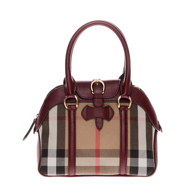Burberry Small Milverton House Check Burgundy Satchel