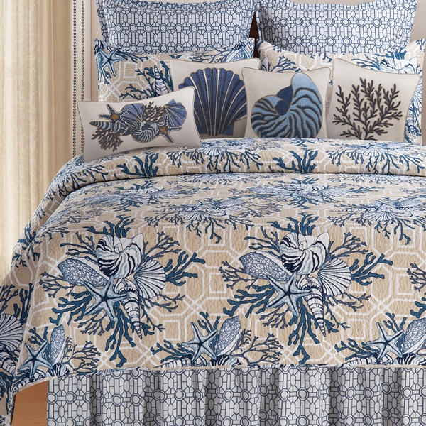 Indigo Sound Cotton Coastal Quilt and Sham Separates