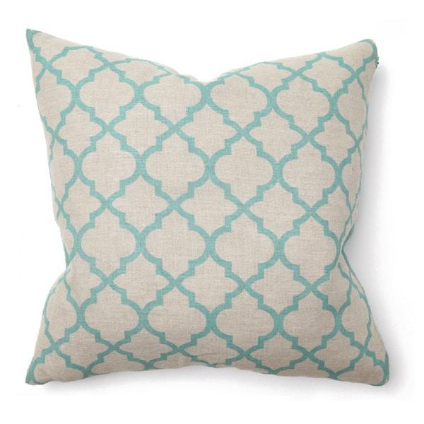 Hesperia Linen Turquoise 22-inch Throw Pillow