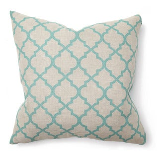 Hesperia Linen Turquoise 22-inch Throw Pillow