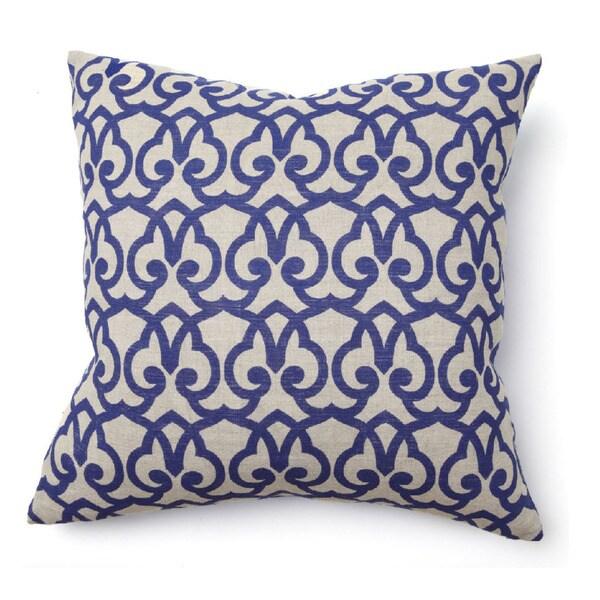 Brit Print Jute Blend Blue 22-inch Throw Pillow