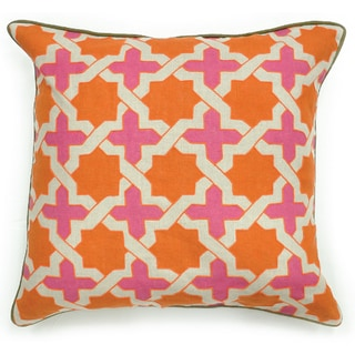 Analou Linen Orange 22-inch Throw Pillow