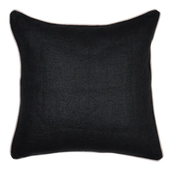 Cabas Linen Blend Black 22-inch Throw Pillow