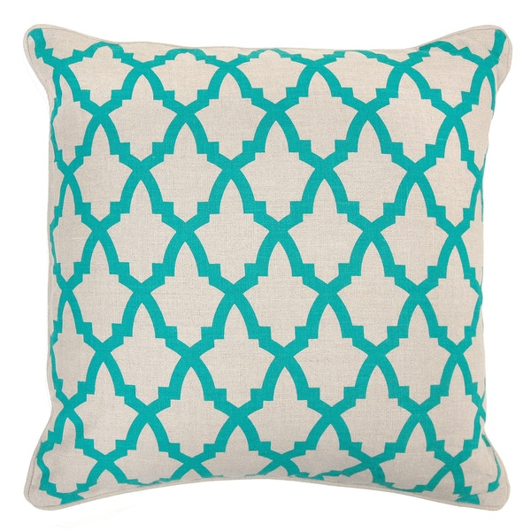 Valencia Linen Turquoise 22-inch Throw Pillow