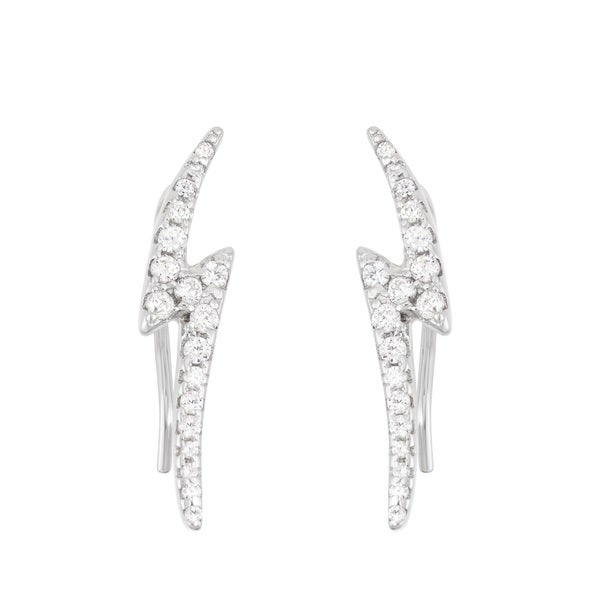 La Preciosa Sterling Silver CZ Lightning Bolt Ear Climber Earrings