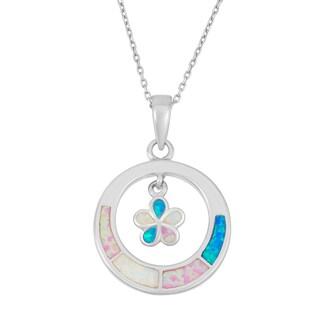 La Preciosa Sterling Silver Multi-Colored Opal Flower Circle Necklace