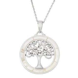 La Preciosa Sterling Silver Mother of Pearl Tree of Life Circle Necklace