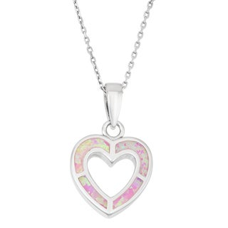 La Preciosa Sterling Silver Pink Opal Heart Necklace