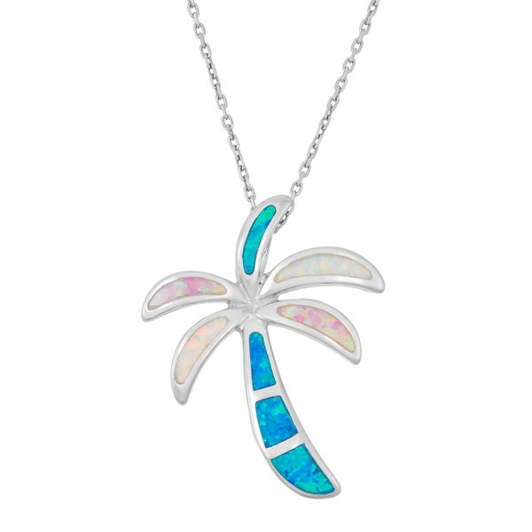 La Preciosa Sterling Silver Multi-color Opal Palm Tree Necklace