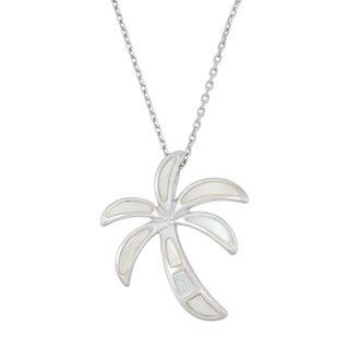 La Preciosa Sterling Silver Mother of Pearl Palm Tree Necklace
