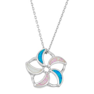 La Preciosa Sterling Silver Multi-colored Opal Flower Necklace