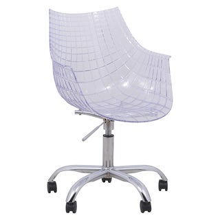 LeisureMod Ashville Clear Swivel Arm Chair