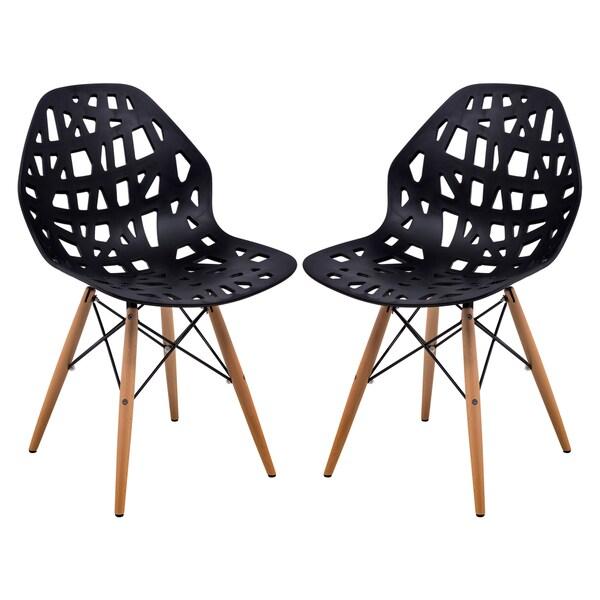 LeisureMod Akron Black Cutout Side Chair (Set of 2) 16586080