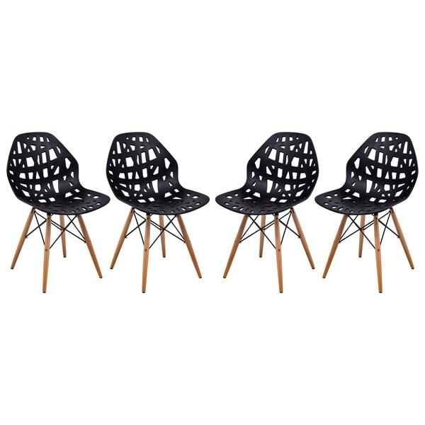 LeisureMod Akron Black Cutout Side Chair (Set of 4) 16586088