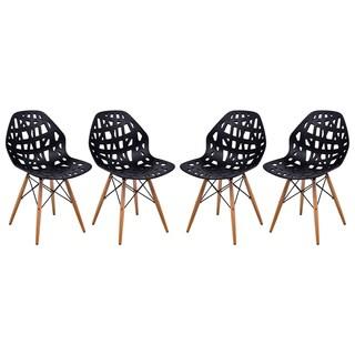 Somette Akron Black Cutout Side Chair (Set of 4)