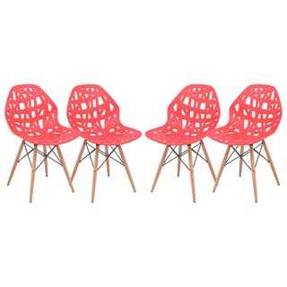 LeisureMod Akron Red Cutout Side Chair (Set of 4)