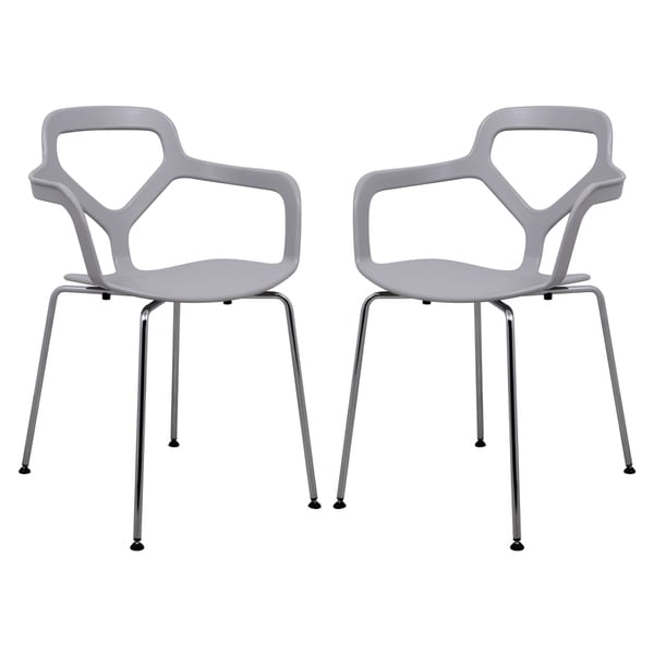 LeisureMod Light Grey Carney Arm Chair (Set of 2) 16586095
