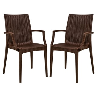 Somette Mace Brown Arm Chairs - Set of Two
