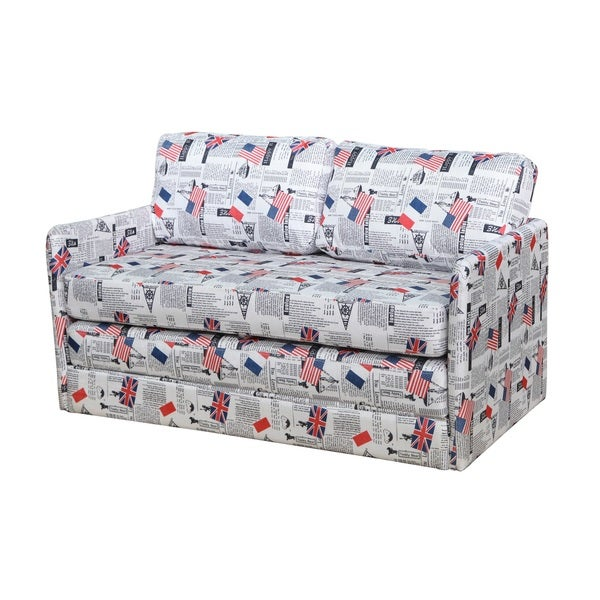 Kathy Reversible 5.1-inch Foam Print Fabric Loveseat and Sofa Bed