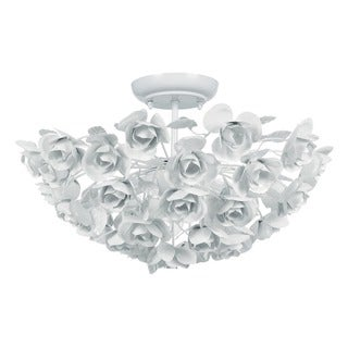 Crystorama Cypress Collection 3-light Wet White Semi-flush Mount