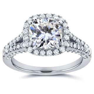 Annello 14k White Gold Moissanite and 3/5ct TDW Diamond Halo Split Shank Engagement Ring (G-H, I1-I2)