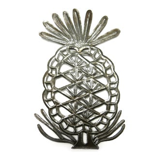 Handcrafted Recycled Steel Drum Pineapple Wall Art (Haiti)