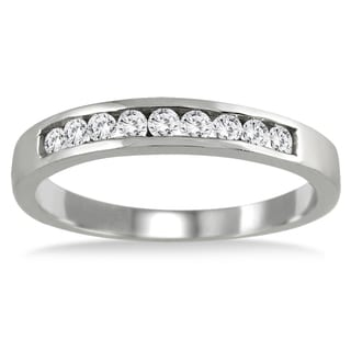Marquees Jewels 10K White Gold 1/4ct TDW Channel-set Diamond Band (I-J, I2-I3)